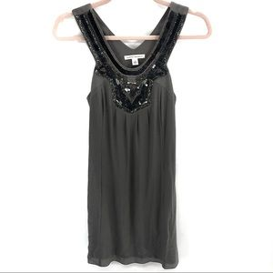 Banana Republic Gray & Black Sequin Silk Tank Top